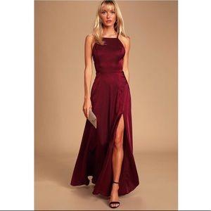 Lulus Total Beauty Burgundy Satin Maxi Dress Large